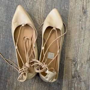 Ballet Flats with Lace Up Detail
